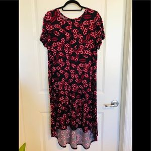 LulaRoe feather pattern high/low dress